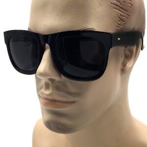 XL Herren Groß Schwarz Quadratisch Breit Rahmen Sonnenbrille Dick Übergröße