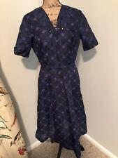 M Vintage 1940s Meg Marlowe Blue Day Dress Floral Fit Flare 40s 50s