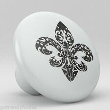 Fleur de Lis Ceramic Knobs Pull Kitchen Bathroom Closet Drawer Cabinet 130