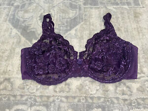 Cabernet 8038 Lace Full Coverage Bra Underwire Sheer Unlined 38D Purple