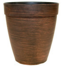 17 Litre COPPER Large Plant Pot ROUND Tall Plastic Planter Outdoor Garden Pots