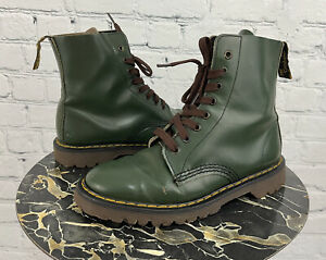 Dr Martens 80s Vintage Green Leather 1460 8 Eye Boots UK 6 US 8 Made in England