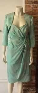 ISPIRATO AQUA ROSE PRINT DRESS AND JACKET. Rrp £469 Size 12
