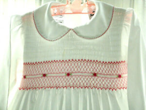 Sarah Louise Smocked Party Dress White Pink Rose L/S Romany Baby Frock 18 - 24 m
