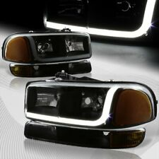 For 1999-2006 GMC Sierra 1500 2500 DRL LED Black Smoke Headlights+Bumper 4PCS
