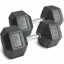 Pair 75 lb Black Rubber Coated Hex Dumbbells Weight Training Set 150 lb Fitness