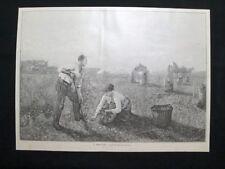 Breton:La fine del raccolto + Detaille - Leon Comerre Incisione del 1894