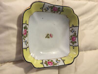 VINTAGE JAPAN NIPPON YELLOW HAND PAINTED FLORAL PORCELAIN SQUARE BOWL DISH