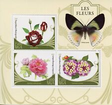Madagascar 2016 MNH Flowers Roses 3v M/S Butterflies Insects Stamps