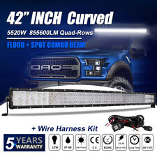 42Inch Curved 5520W Quad Rows Cree Led Light Bar Combo Offroad 4Wd Truck Atv 40""