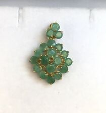 14k Solid Yellow Gold Diamond Shape Pendant, Natural Emerald 2.3 Grams