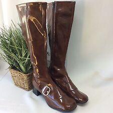 Vintage 1960s Brown Calf MOD Retro Boots Shiny Go Go Tall New unworn