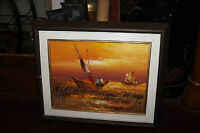 Original Nautical Impressionist Oil Painting On Canvas Signed Rod Beach Boats