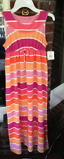 J Khaki Sunset Pink Stripe Girls Maxi Dress Size Medium NWT
