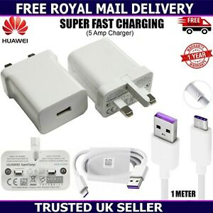 Genuine Huawei P30 P20 Pro Lite Super Charge Fast Mains Charger Plug USB-C Cable