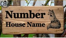 FOX HOUSE SIGN PLAQUE DOOR NUMBER STREET NAME PLATE HOUSE GATE WALL PORCH RUSTIC