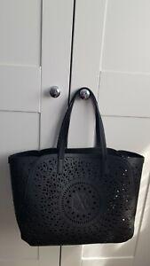 Christian LACROIX Tote Navy Black Large Shoulder Handbag Perforated