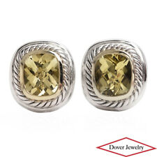 David Yurman Lemon Quartz Sterling Silver 14K Gold Stud Earrings 19.0 Gram NR