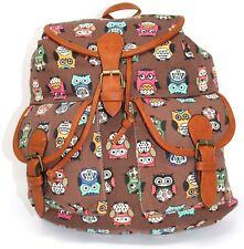 "Owl Print 14"" Brown Backpack Elegant & Ideal |NEW| !Buy One Now!"