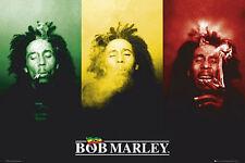 BOB MARLEY - POSTER / PRINT (3 IMAGES SMOKING JAMAICAN FLAG)