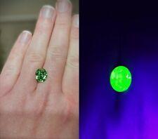 Large Oval Rhinestone Loose Gem Green Vintage Swarovski Uranium Vaseline Glass