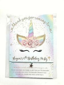 Personalised Unicorn Wish Bracelets Girls Boy Birthday Party Bag Filler favours