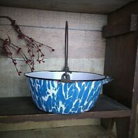 Antique Blue & White Swirl Graniteware Kettle Pail Bail Handle Spout Side Handle