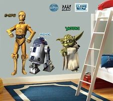 LARGE WALL STICKERS DECOR STAR WARS CLONE YODA R2D2 C3P