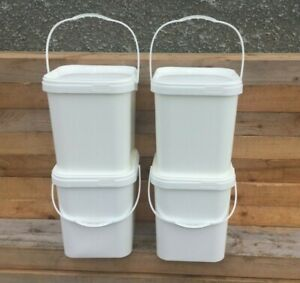 4 x 18 Ltr White Plastic Square Bucket with Tamper Evd Lid Food Grade BPA Free