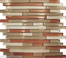 1SF- Red Brown Linear Beige Glass Mosaic Tile Kitchen Backsplash Wall Bath Pool