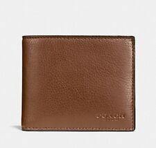 COACH MEN's COMPACT ID WALLET F74991 DARK SADDLE