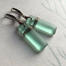 Min Favorit Turquoise Bay Sea Glass Rectangle & Antique Copper Wrap Earrings
