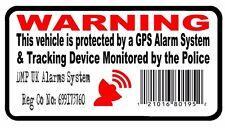 4 X alarma de seguridad de código de barras de rastreo GPS Pegatinas Advertencia Coche Moto van 75 mm