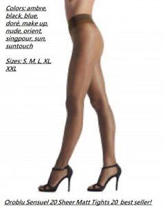12 Pack: Oroblu Sensuel 20 pantyhose, slight sheer matt finish, sheer to waist