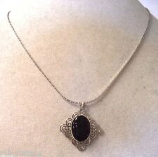 STUNNING VINTAGE ESTATE SILVER TONE BLACK CAB ORNATE NECKLACE!!! WGA3295