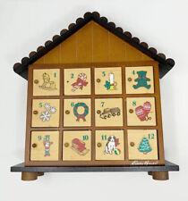 Vintage Eddie Bauer Christmas Advent Calendar Wood House 12 Doors