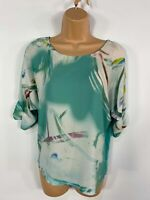 WOMENS NEXT JADE GREEN PATTERNED RUCHED 1/2 SLEEVE CASUAL SUMMER BLOUSE TOP UK 6