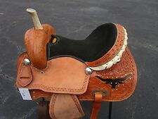 16 BARREL RACING SHOW PLEASURE TRAIL RACER TOOLED LEATHER HORSE WESTERN SADDLE