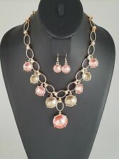 Gold Pink and Topaz Crystal Drop FASHION Necklace Set