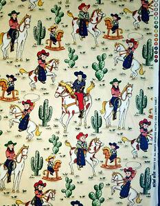 Retro cowboy print cowhide  by Michael Miller Licensed Print cotton western cream cowgirl print retro western cowboy vintage style