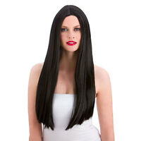 Adult LONG Black WIG Hair Morticia 24 inches Long Straight - Cut to Size EW-8000