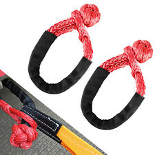 2pcs 12in X 22in Soft Shackle Rope Red Synthetic Towing Recovery Strap 38000lbs