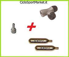 Rubinetto gonfiaggio camera d'aria + 2 Bombolette Co2 per ogni tipo di valvola