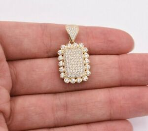 """1.25"""" Puffed Dog Tag CZ Cubic Zircon Pendant Real Solid 10K ALL Yellow Gold"""