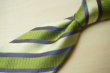 Zilli Green Purple Repp Textured Striped 100% Silk Hand Made in Italy Tie