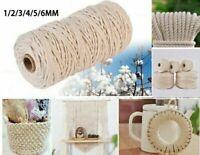 1/2/3/4/5/6mm Cotton Twisted Cord Rope Artisan Macrame String DIY Crafts
