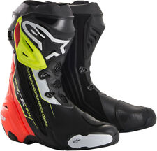 Alpinestars SUPERTECH R Leather Riding/Race Boots (Black/Red/Flo Yellow)