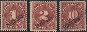 PUERTO RICO, 1899. Postage Dues J1a-J3a, Mint (3)