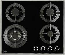 Beko Gas on Glass Hob HISW64222SB   60c m Built in, Cast Iron Pan Supports Black