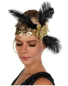 Flapper Headband - Feather - Gold/Black - Costume Accessory - Adult Teen